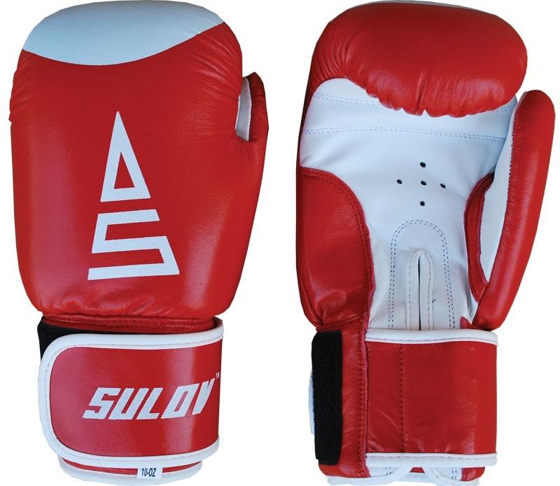 Box rukavice SULOV kožené 10oz., červeno-bílé