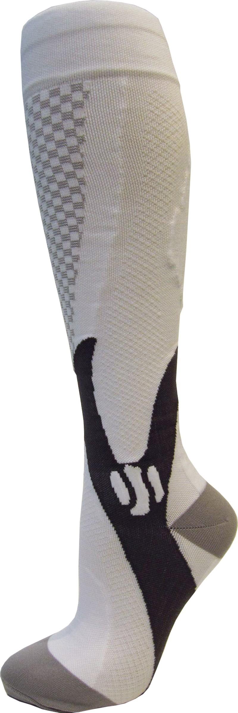 Kompresní sportovní ponožky CHECKER, bílé, vel. 45+