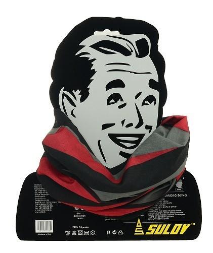 Sportovní šátek s flísem SULOV, černo-červený