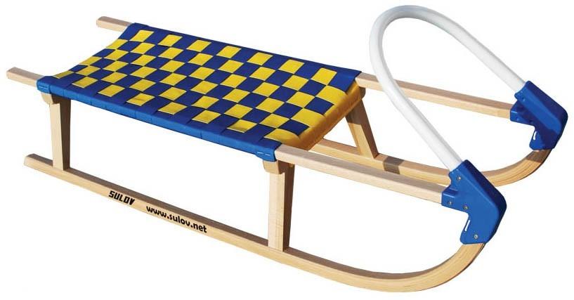 Dřevěné saně SULOV LAVINA, 110cm, plastové madlo, modro-žluté