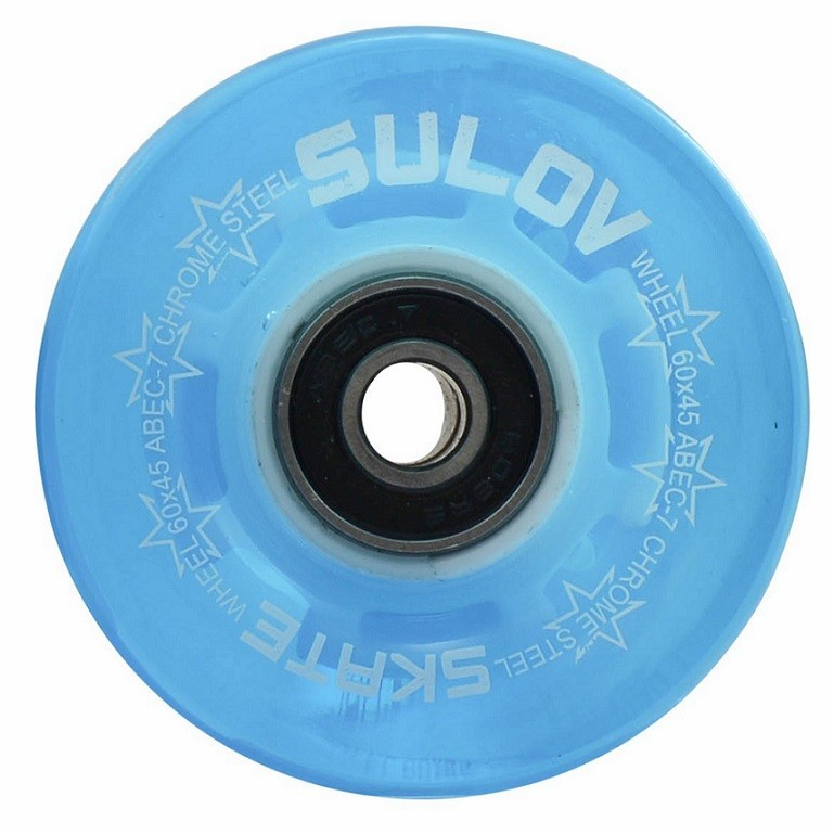 Kolečka Penny board BLUE TRANSPARENT LIGHT 60 x 45mm 85A (sada 4ks s ložisky ABEC-7 chrome)